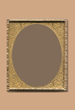 Vintage antique brass frame. A vintage brass, bronze or gold frame in an antique looking design with a background small shadow royalty free illustration