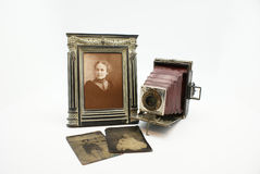 Vintage or Antique Camera and Photograph Plates Royalty Free Stock Photo