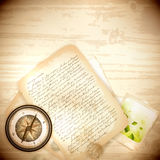 Vintage antique compass and old letter Stock Photos