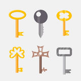 Vintage or antique door key isolated access household tool retro metal security house protection and decorative skeleton Royalty Free Stock Photos