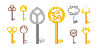 Vintage or antique door key isolated access household tool retro metal security house protection and decorative skeleton. Ornate secret sign vector illustration royalty free illustration