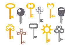 Vintage or antique door key isolated access household tool retro metal security house protection and decorative skeleton. Ornate secret sign vector illustration vector illustration