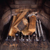 Vintage antique fireplace Stock Image