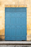 Vintage antique folding wooden decorated blue door Royalty Free Stock Photo