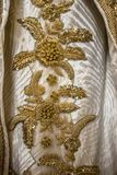 Vintage antique gold embroidery floral pattern Stock Images