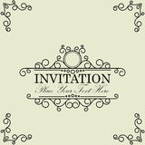 Vintage and antique greeting card  invitation with beautiful lux. Ury floral designs - vector graphic Royalty Free Stock Photos