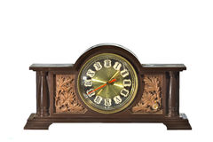 Vintage, antique old clock isolated Stock Photo