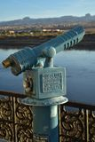 Vintage coin operated telescope. Vintage antique old fashioned coin operated telescope outdoors along Colorado river bank for magnified viewing of scenery Stock Photography