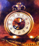 Vintage Antique pocket watch. Illustration collage. vintage background. Royalty Free Stock Photography