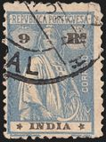 Vintage antique Post Independence stamp PORTUGUESE INDIA 1913-1025 stock images