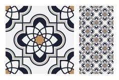 Vintage antique seamless design patterns tiles in Vector illustration. Vintage antique seamless design patterns tiles wall craft design patterns, vector Royalty Free Stock Photos