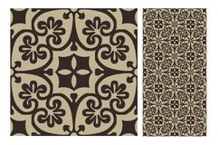 Vintage antique seamless design patterns tiles in Vector illustration Royalty Free Stock Photography
