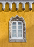 Vintage antique window times kings of the castle Pena. Stock Photography