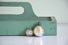 Vintage Antique Wood Box with Christmas ornaments Stock Images