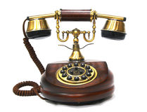Vintage Antique Wooden and Brass Phone Royalty Free Stock Photography