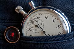 Vintage antiques Stopwatch, in black jeans with button pocket, value measure time, old clock arrow minute, second accuracy timer r Stock Photos