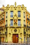 Vintage Apartament Building Block Exterior Facade,Valencia,Spain Royalty Free Stock Images