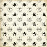 Vintage Apiary Patterned Paper - Vintage Bees - Queen Bee - Bumblebee - Farmhouse Style - Black - White vector illustration