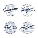 Vintage apparel typography design set. Vector illustration. Royalty Free Stock Images