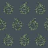 Vintage apple outline polygon pattern Stock Photo