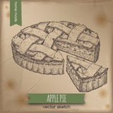 Vintage apple pie sketch on old paper background. Vintage apple pie placed on old paper background. Great for market, restaurant, cafe, food label design Stock Images
