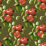 Vintage apples seamless pattern. Vintage styled Red apples seamless pattern. Raster illustration. Artistic natural food on color background. Apple branches Vector Illustration