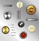 Vintage appliance electronics knobs set 1. Set of vecter retro dials and knobs stock illustration