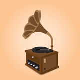 Vintage Appliances. Ancient record player, Vector illustration Royalty Free Stock Image
