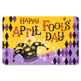 Vintage April Fools Day card. Or banner design with jester hat Stock Image