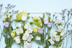 Vintage aqua green blue background with white, purple, lilac and yellow  flowers with empty copy space Stock Photography