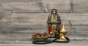 Vintage arabic lantern islamic rosary beads Royalty Free Stock Photos