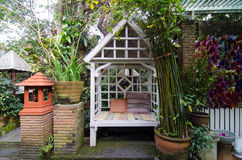 Vintage arbour in garden Stock Photography