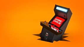 Vintage arcade game machine concept game over. Stock Image