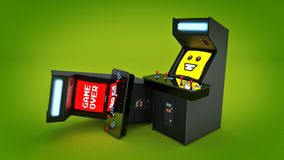 Vintage arcade game machine concept game over. Royalty Free Stock Image