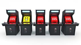 Vintage arcade game machine concept game over. Royalty Free Stock Photos