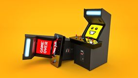 Vintage arcade game machine concept game over. Royalty Free Stock Photography