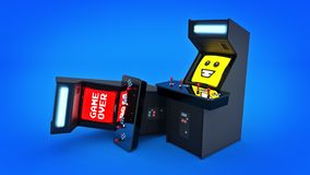 Vintage arcade game machine concept game over. Stock Photography
