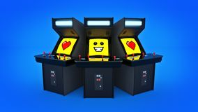 Vintage arcade game machine concept love. Stock Image