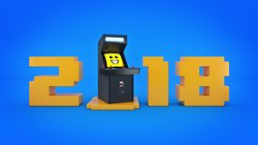 Vintage arcade game machine concept 2018 New Year . Stock Photo