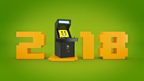 Vintage arcade game machine concept 2018 New Year . Royalty Free Stock Photography