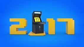 Vintage arcade game machine concept 2017 New Year . 3D rendering Royalty Free Stock Photography