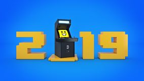 Vintage arcade game machine concept 2019 New Year. 3D rendering Stock Photo