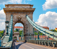 Vintage arch at chain bridge in Budapest Royalty Free Stock Photos