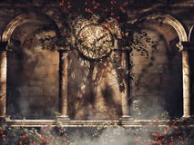 Vintage arches and a clock Stock Photo