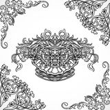 Vintage architectural details design elements. Antique baroque classic style border and cartouche in engraving style Royalty Free Stock Photos