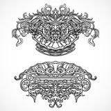 Vintage architectural details design elements. Antique baroque classic style cartouche in engraving style Stock Photo