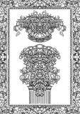 Vintage architectural details design elements. Antique baroque classic style column, cartouche and border. royalty free illustration
