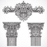 Vintage architectural details design elements. Antique baroque classic style column and cartouche Stock Images