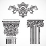 Vintage architectural details design elements. Antique baroque classic style column and cartouche royalty free illustration