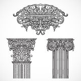 Vintage architectural details design elements. Antique baroque classic style column and cartouche. Royalty Free Stock Photos